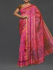 Pink Floral Print Chanderi Cotton Saree - Lavender