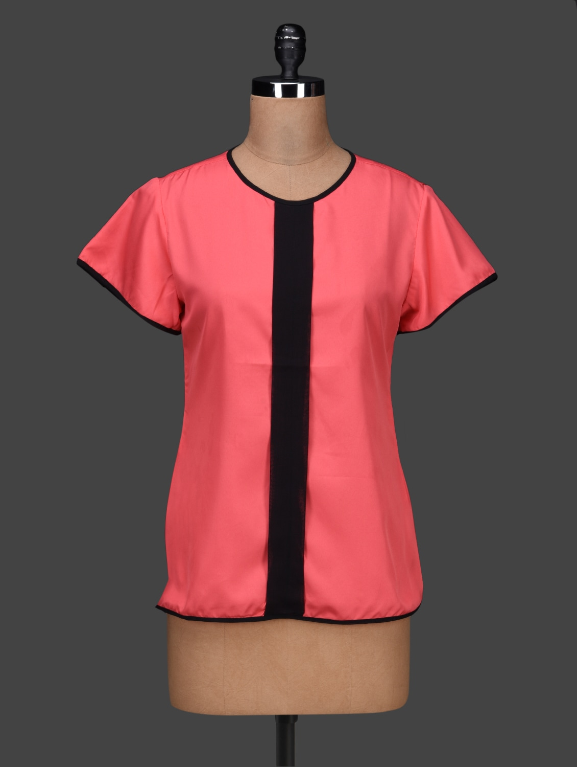 Round Neck Short Sleeves Pink Crepe Top - PANIT