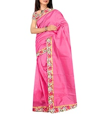 pink art silk bordered  saree  available at Limeroad for Rs.1699