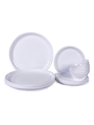 Incrizma Plastic White Round Dinner Set - set of 18