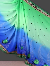Embroidered Blue And Green Chiffon Saree - Manvaa