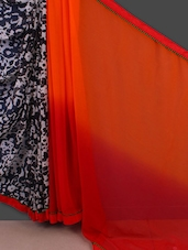 Half And Half Printed Chiffon Saree - Manvaa