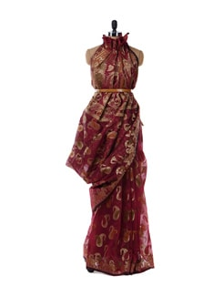 Maroon And Gold Saree - Bunkar