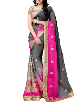 grey georgette embroidered saree