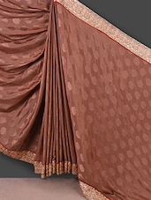 Brown Jacquard Silk Saree With Zari Work - Manvaa