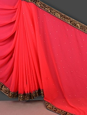 Red Jacquard Georgette Saree With Embroidered Border - Manvaa