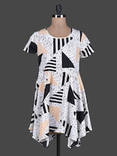 White Printed Poly Crepe Dress - Meiro