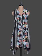 Black Printed Gather Poly Georgette Dress - By