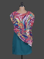 Multicolour Printed Poly Crepe And Poly Georgette Dress - Meiro