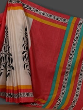 Off White Printed Art Silk Saree - Rajesh Silk Mills