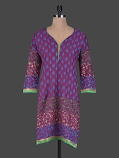 Purple Printed Cotton Kurta - ETHNICLOOK