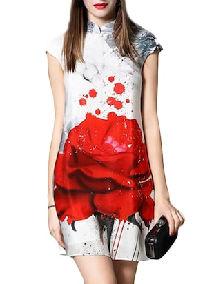 red and white printed georgette shift dress