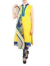 Sleeveless Mandarin Collar Cotton Suit Set - Salwar Studio