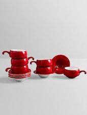 Solid Red Color Half Handle Tea Cup Set - Clay Craft