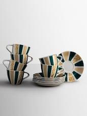 Stripe Print Pattern Tea Cup Set - Clay Craft