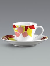Leaf Pattern Print Saucer Tea Cup Set - Clay Craft