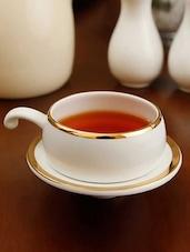 Gold Border Half Handle Solid Color Tea Cup Set - Clay Craft