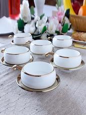Solid Color Gold Border Half Handle Tea Cup Set - Clay Craft