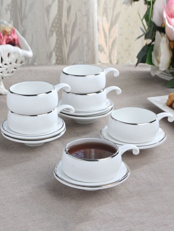 Solid Color Silver Border Half Handle Tea Cup Set - Clay Craft