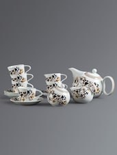 Paw Print Pattern Tea Cup Set - Clay Craft