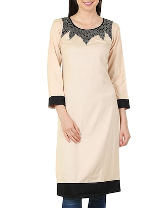 Beige plain Rayon Regular Kurta