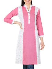 Pink And White Printed Cotton Kurta - By