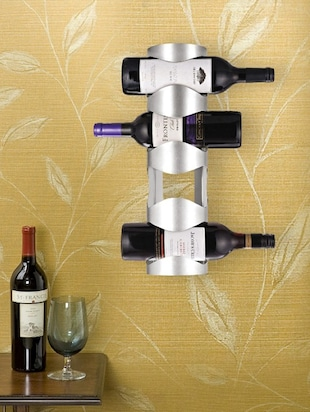 Silver steel wine bottle holder