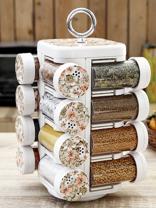 Floral Print Spice Rack Set of Sixteen