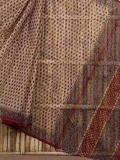 Beige Floral Block Print Cotton Saree - Fab Rajasthan