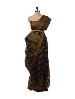 Black And Copper Brown Saree - Bunkar