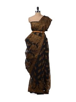 black and copper brown saree - Bunkar