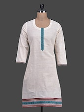 White Round Neck Casual Cotton Kurti - Titch Button