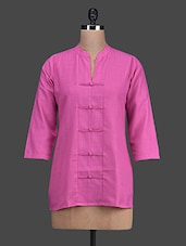 Pink 3/4th Sleeves Cotton Short Kurta - Titch Button