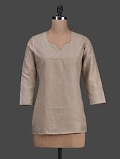 Brown 3/4th Sleeves Cotton Short Kurti - Titch Button