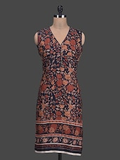 Floral Print V-neck Sleeveless Cotton Kurti - Titch Button