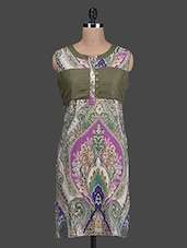 Printed Sleeveless Round Neck Cotton Kurti - Titch Button