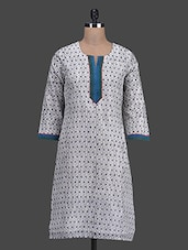 Geometric Printed Chanderi Cotton Kurti - Titch Button