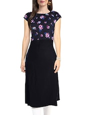 Black Polyester Floral Printed Straight Kurta - By