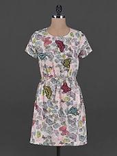Printed Round Neck Crepe Dress - L'elegantae