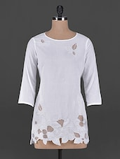 Embroidered Polycotton Long Sleeves Top - By