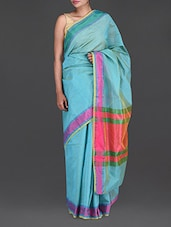 Sky Blue Chanderi Silk Saree - Bunkar