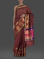 Brown And Gold Supernet Saree - Bunkar