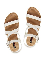 White Strappy Buckle Closure Sandals - KZ Classics