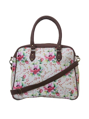 white polyester floral printed handbag with sling