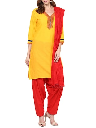 yellow cotton stitched patiyala suit
