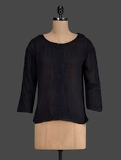 Round Neck Three Quarter Sleeve Viscose Top - By