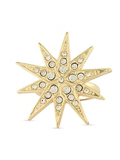 Star Shaped Embellished Ring - By