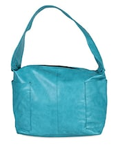 Plain Solid Blue Leatherette Handbag - Hotberries