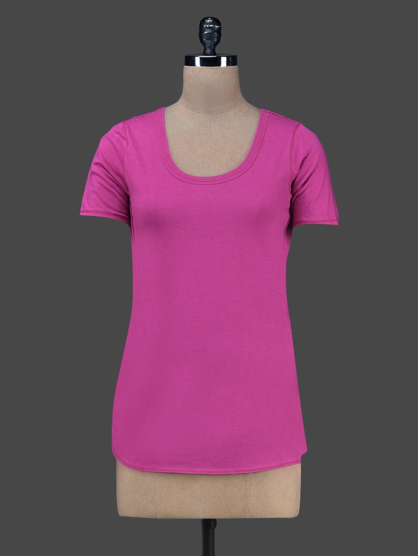 Round Neck Short Sleeves Solid Top - Vrtya