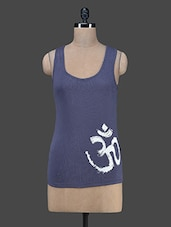 "Grey ""Om"" Printed Tank Top - Vrtya"